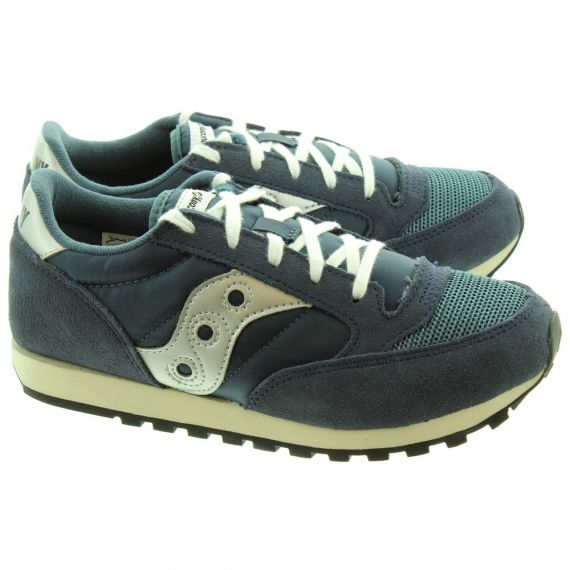 SAUCONY Jazz Kids Lace Trainers In Navy
