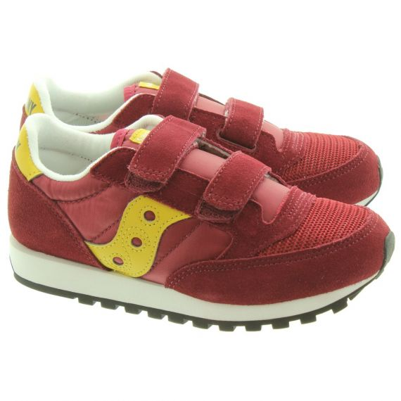 SAUCONY Jazz Kids Velcro Trainers In Burgundy