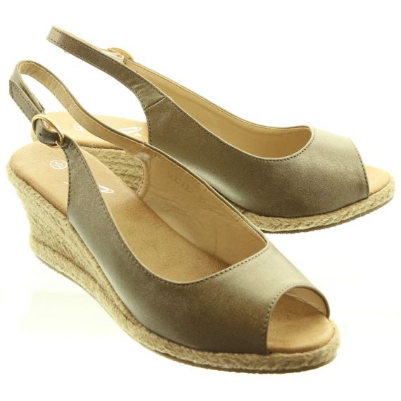 LUNAR Ladies JLC132 Toledo Wedge Espadrille Sandals In Pewter