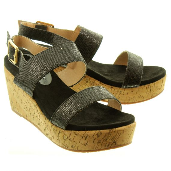 LUNAR Ladies JLH051 Christiana Wedge Sandals In Black