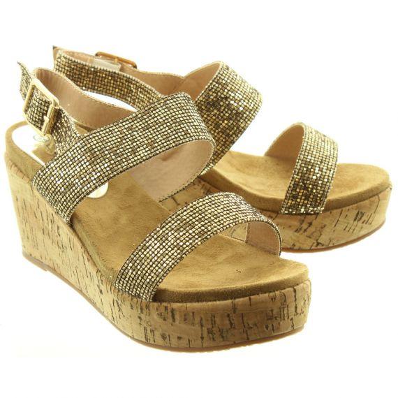 LUNAR Ladies JLH051 Christiana Wedge Sandals In Glitter
