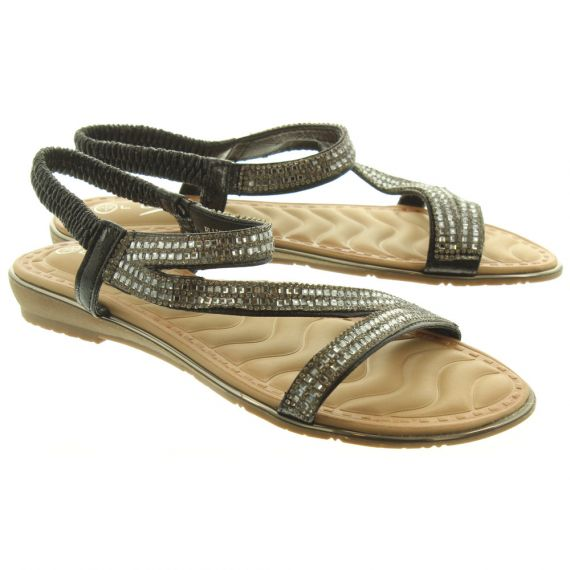 LUNAR Ladies JLH079 Blaise Glitzy Sandals In Black