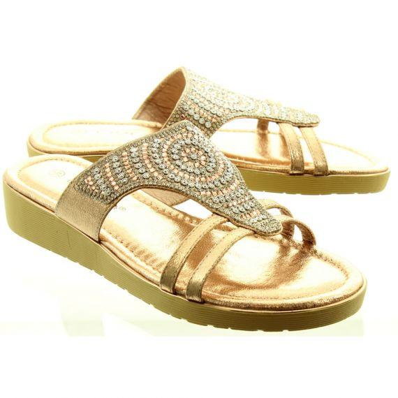 LUNAR Ladies JLH990 Adena Sandals In Rose Gold