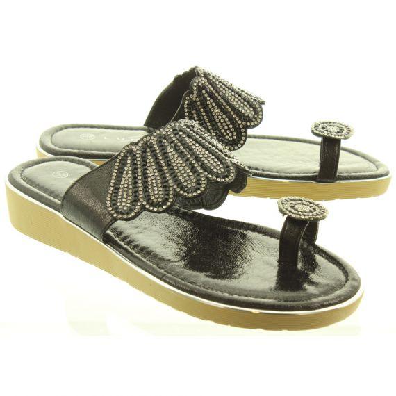 LUNAR Ladies JLH991 Aura Toe Loop Sandals In Black