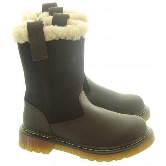 DR MARTENS Kids Juney Calf Boots In Brown