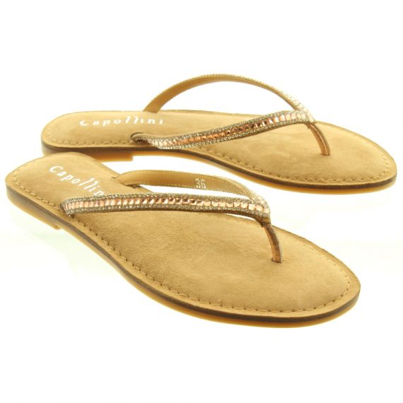 ADESSO Ladies Katy Toe Post Sandals In Rose Gold