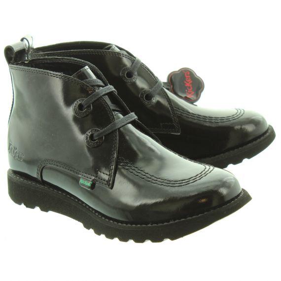 KICKERS Kick C Lite Desert Boots In Black Patent