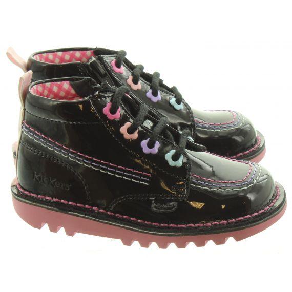 KICKERS Kids Kick Hi Fleur Boots In Black Patent