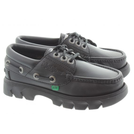 KICKERS Kid Lennon Boat Shoes In Black