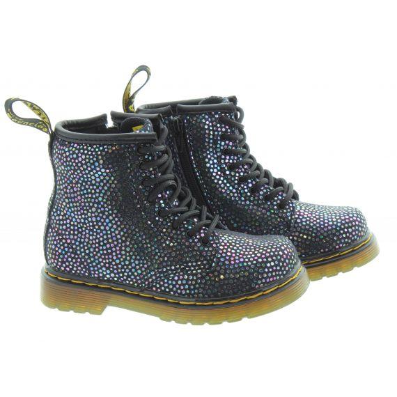 DR MARTENS Kids 1460 Boots In Black Spot Metallic