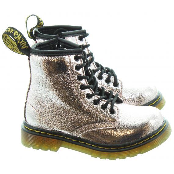 DR MARTENS Kids 1460 Boots In Pink Salt Crinkle Metallic
