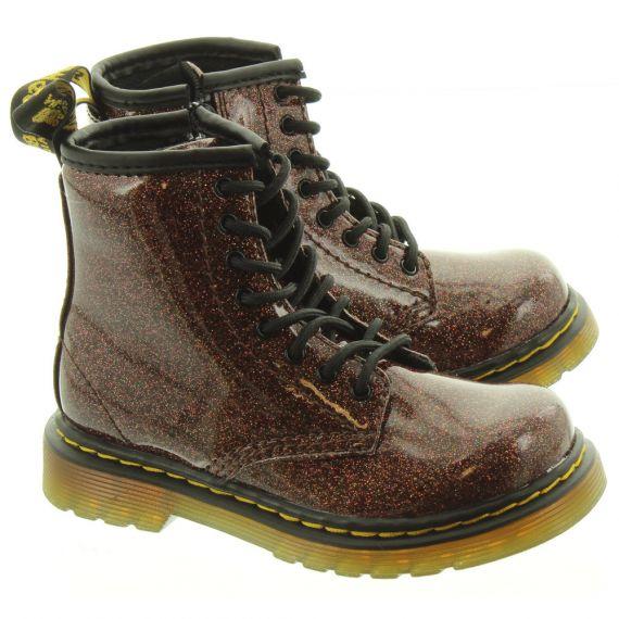 DR MARTENS Kids 1460 Glitter Boots In Rose
