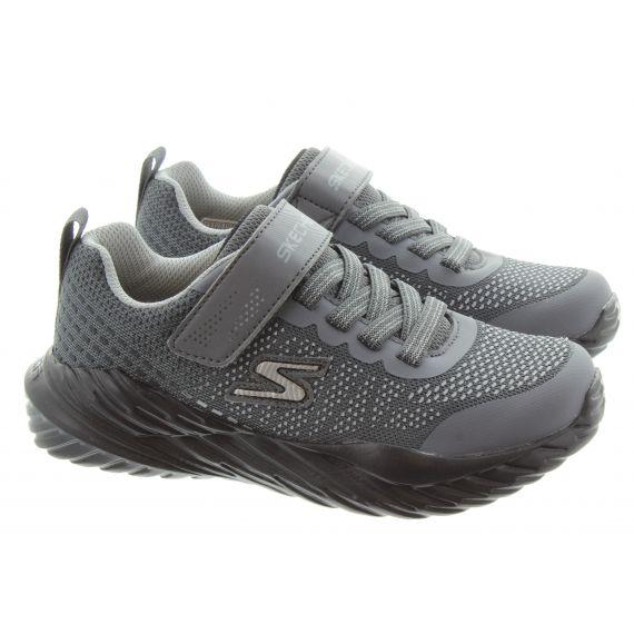 SKECHERS Kids 403753L Machine Washable Trainers In Charcoal Black