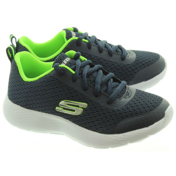 SKECHERS Kids 98121L Lace Trainers In Navy And Lime