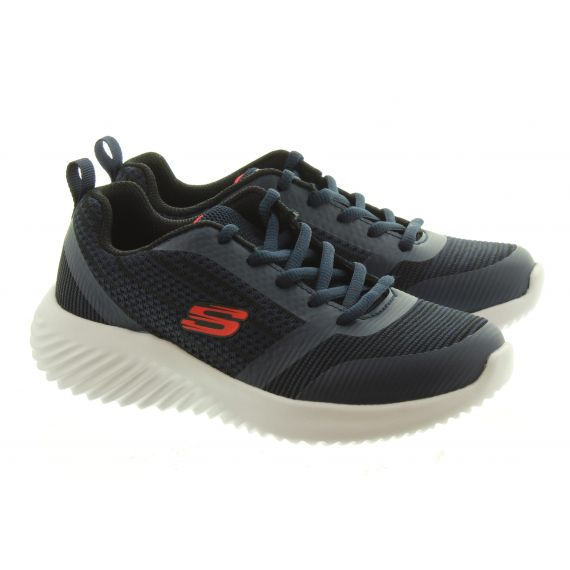 SKECHERS Kids 98303L Lace Trainers In Navy And Black