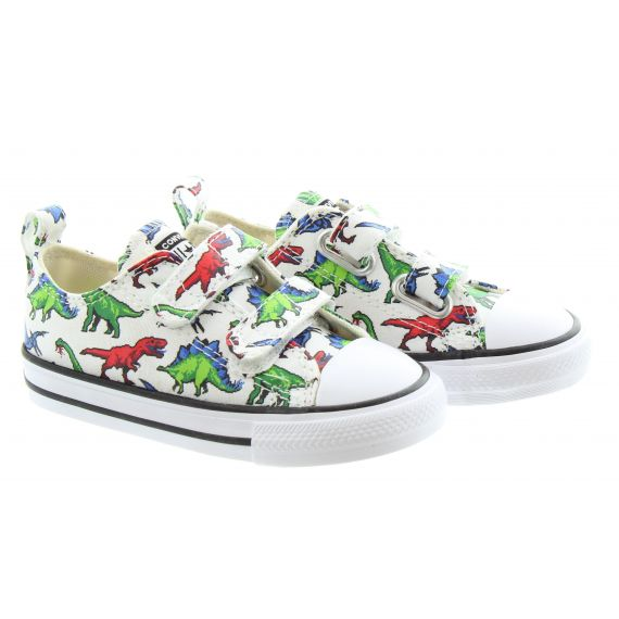 CONVERSE Kids All Star 2v Ox Digital Dino Shoes In White