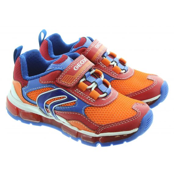 GEOX Kids Android Velcro Trainers In Orange