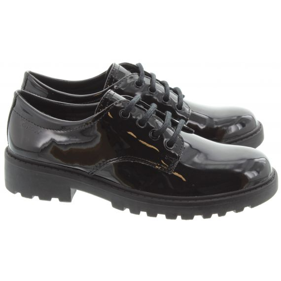 GEOX Kids Casey Lace Up in Black Patent