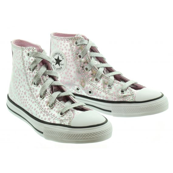 CONVERSE Kids Converse Allstar Hi in Pink and Silver