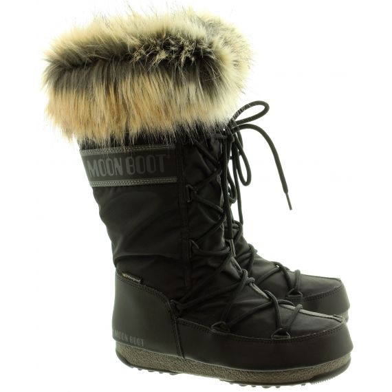 Ladies Monaco Fur Boots In All Black