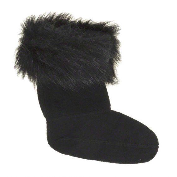 HUNTER Kids Faux Fur Cuff Boot Socks In Black