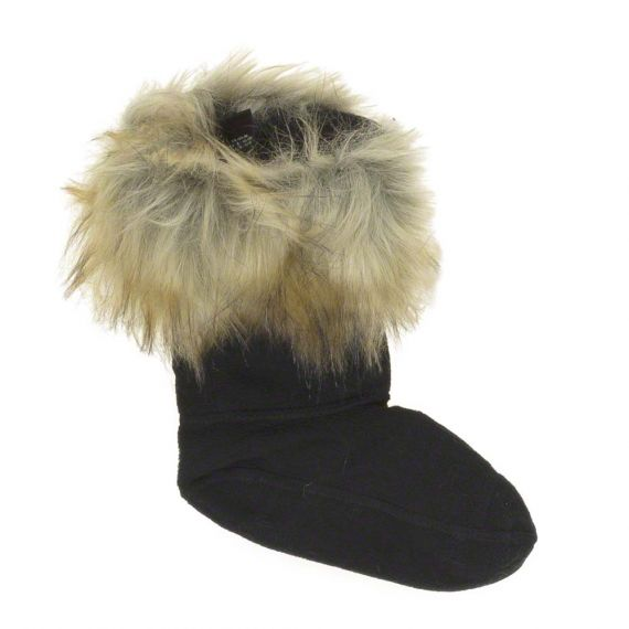 HUNTER Kids Faux Fur Cuff Boot Sock In Tawn