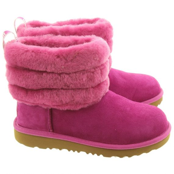 UGG Kids Fluff Mini Quilted Boots In Fuchsia