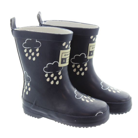 GRASS_AND_AIR Kids GA300 Colour Changing Wellies In Navy