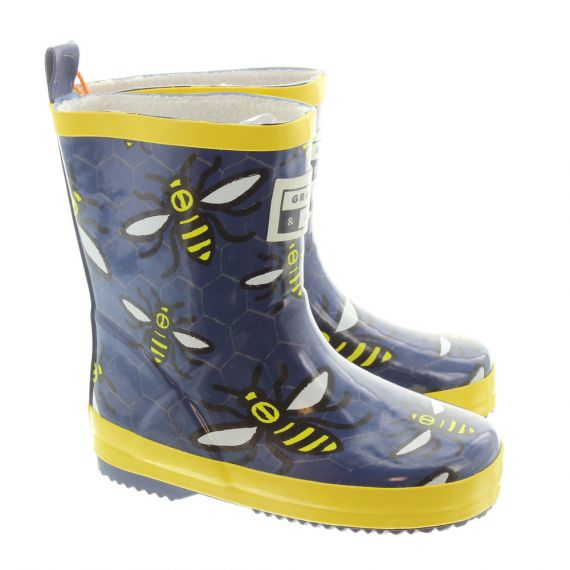 GRASS AND AIR Kids GA302 Bee Wellies In Navy