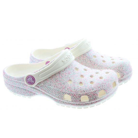 CROCS Kids Glitter Clogs In Oyster