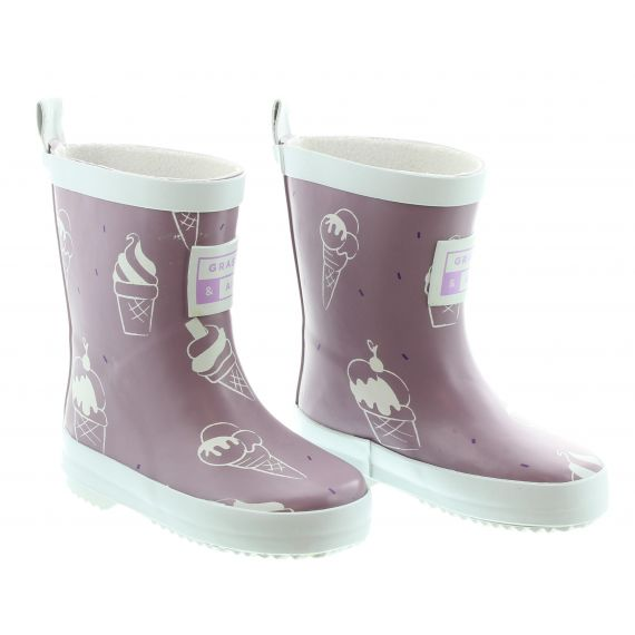 GRASS_AND_AIR Kids GA303 Ice Cream Wellies In Violet