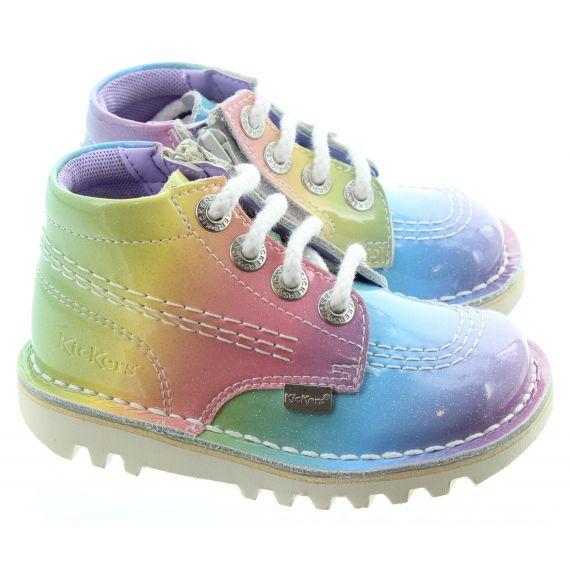 KICKERS Kids Kick Hi Rainbow Boots In Multi