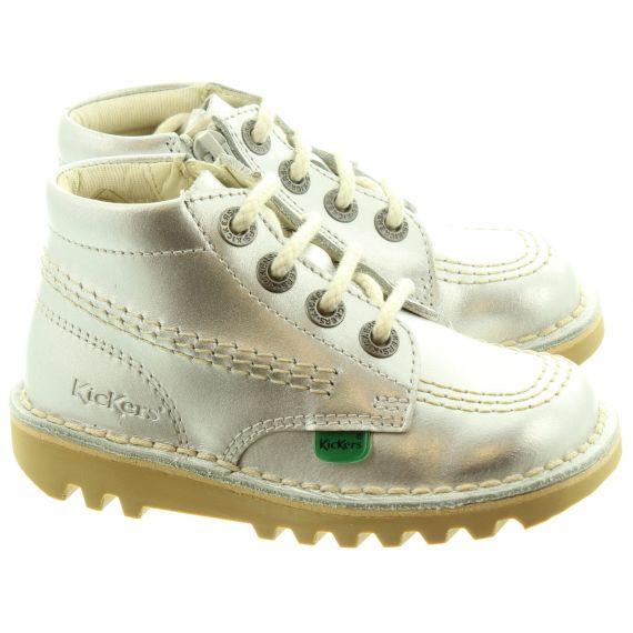 KICKERS Kids Kick Hi Zip Boots In Silver
