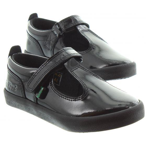 KICKERS Kids Kickers Kariko T Strap Shoes in Black Patent