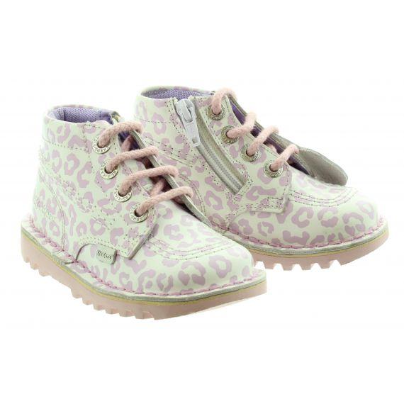 KICKERS Kids Kick Hi Leopard in White Pink