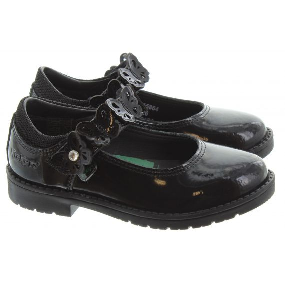 KICKERS Kids Lachly Butterfly Shoes In Black Patent