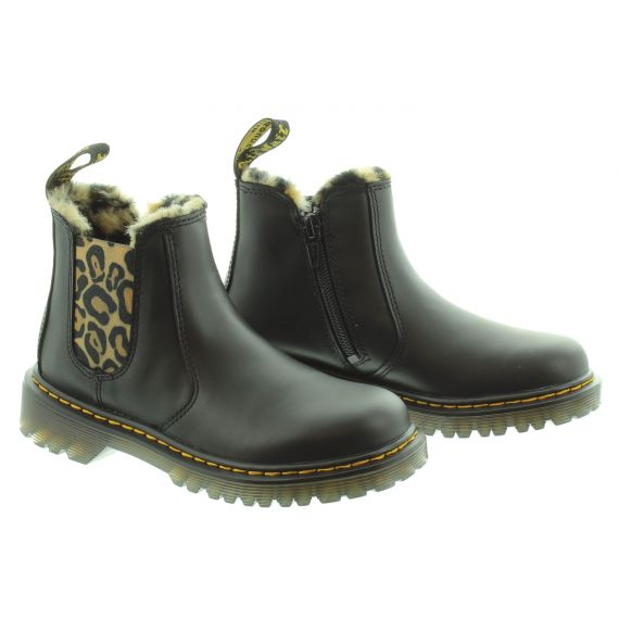 DR MARTENS Kids Leonore Ankle Boot in Leopard