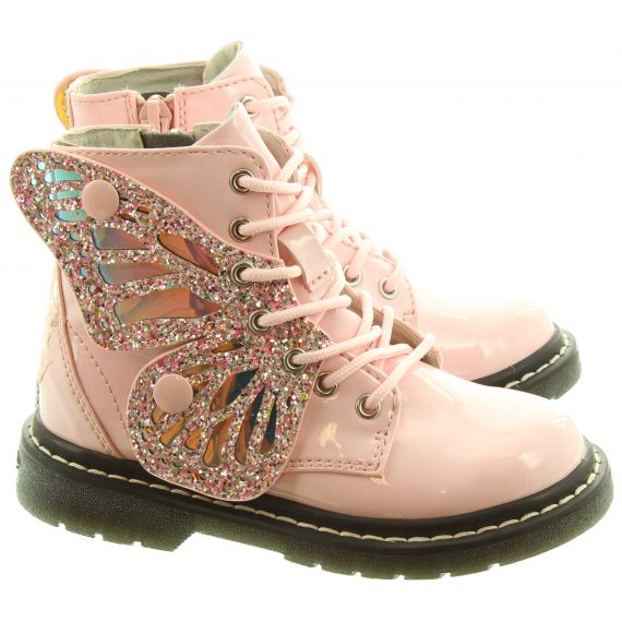 LELLI KELLY Kids LK6540 Wings Lace Boots In Pink Patent