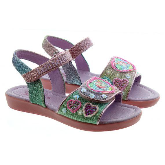 LELLI KELLY Kids LK7404 Unicorn Gem Sandals In Multi Rainbow Glitter