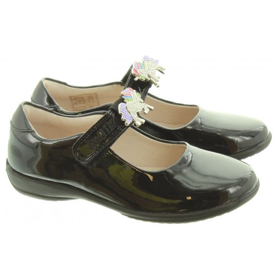 LELLI KELLY Kids LK8213 Unicorn Bar Shoes In Black Patent