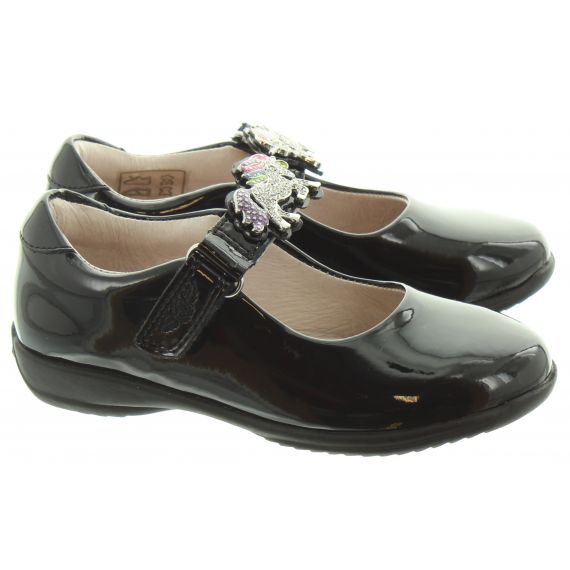 LELLI KELLY Kids LK8342 G Width Blossom Unicorn Shoes In Black Patent