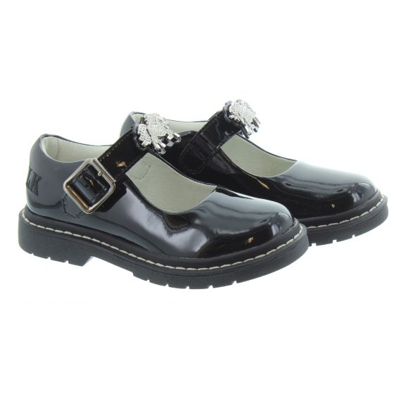 LELLI KELLY Kids LK8361 Miss LK Bessie Unicorn Bar shoes In Black Patent