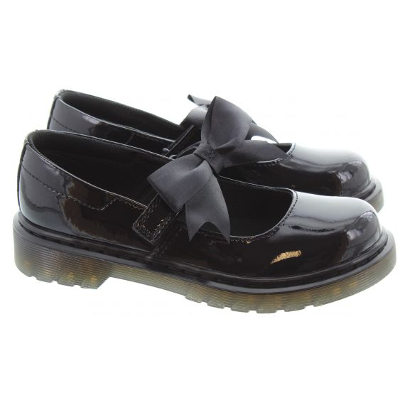 DR MARTENS Kids Maccy 2 Bow in Black Patent