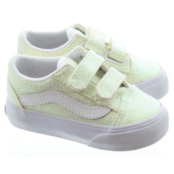 VANS Kids Old Skool Glitter VelcroTrainers in White