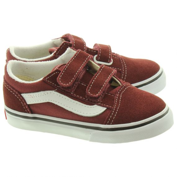 VANS Kids Old Skool Velcro In Burgundy