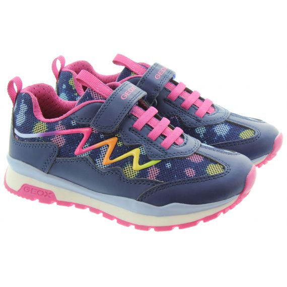 GEOX Kids Pavel Velcro Trainers in Navy/Pink