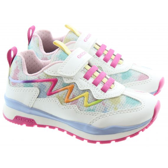 GEOX Kids Pavel Velcro Trainers in White/Pink