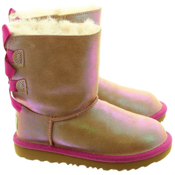 UGG Kids Shimmer Bailey Bow Boots In Chestnut and Fuchsia