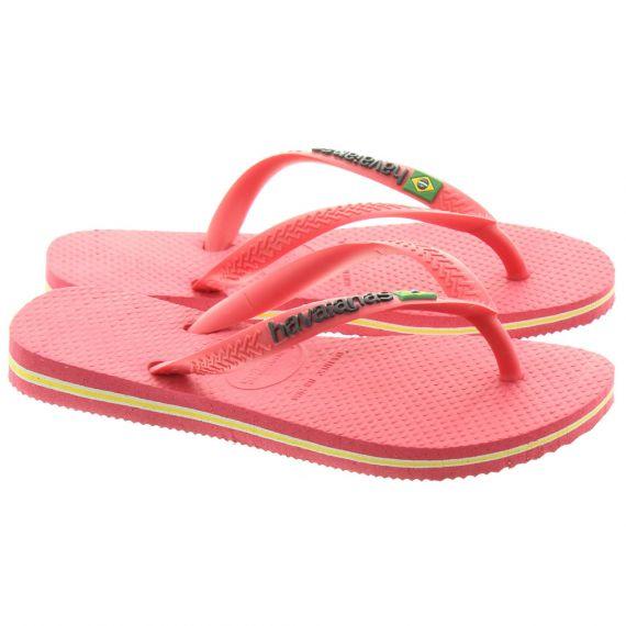 HAVAIANAS Kids Slim Logo Sandals In Flamingo Pink