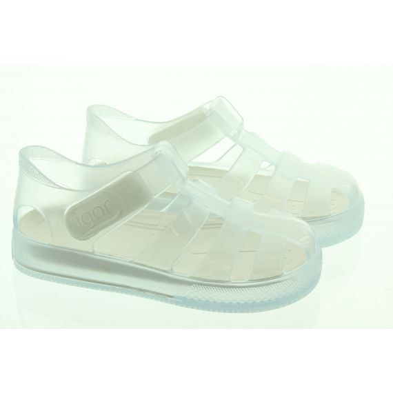 IGOR Kids Star Brillo Sandals In Clear White